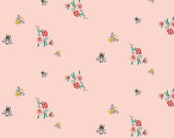Bees & Bits Mellow Fabric - Art Gallery Millie Fleur - Bari J - Bee Floral Fabric - Bee Vintage - Honey Bee - Insect Floral - Garden Farm
