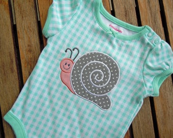 Baby Girl's Bodysuit Onesie with embroidered SNAIL, Size 6-9 Mos, Girls' Snail Outfit, Applique Onesie, Little Girl Snail Top