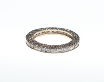 Vintage Art Deco Inspired Sterling Silver Cubic Zirconia Eternity Band Ring with Baguette and Round Cut Stones