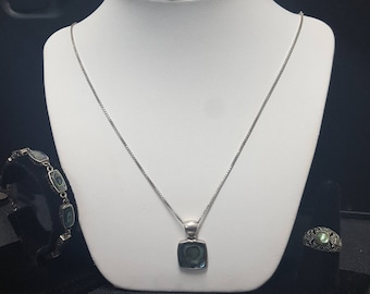 sterling silver abalone jewelry set