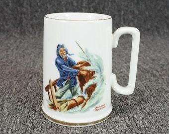 "Norman Rockwell Museum Inc. ""Braving The Storm"" Porcelain 4.5"" Mug C. 1985"