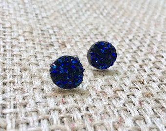 Raw Blue Druzy Studs, Raw Druzy Earrings, Raw Druzy Studs, Metallic Blue Studs, Metallic Druzy Studs, Druzy Studs, Faux Druzy Studs