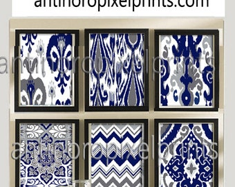 Ikat Prints Damask Navy Greys White Pictures, Set of (6) 8x10 Wall Art, Custom Colors Available (Unframed) #224291615