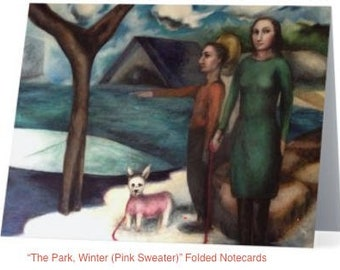 """Art Notecards (Set of 10) - """"The Park, Winter (Pink Sweater)"""" Folded Notecards printed from original oil paintings, Blank inside"""