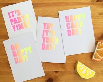 Set of 4 Screenprinted celebration cards