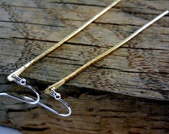 Long Brass Bar Dangle Earrings, Sterling Silver, Gold, Contemporary, Modern, Minimalist, Ultra Thin, Simple, Elegant, Simple, Statement