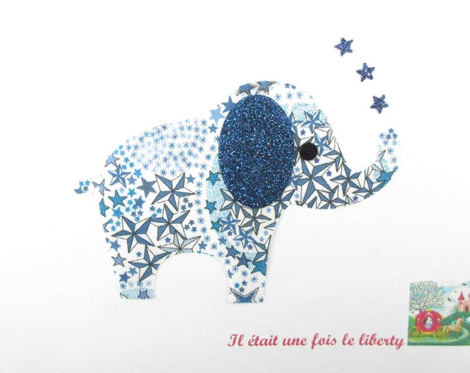 Applied fusing elephant liberty Adelajda blue, and fabric glitter elephant badge patch applique liberty patches iron on pattern