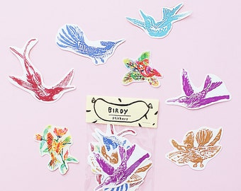 SALE - Bird Sticker Pack -Set of 7 - Vinyl Stickers - Hand Drawn Sticker - Handmade Sticker - Bird Sticker