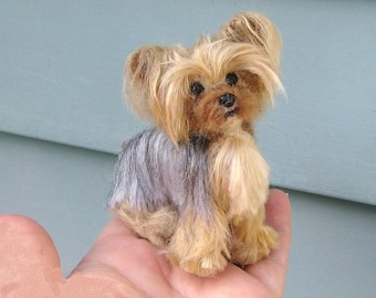 Custom Pet Portrait Gourmet Felted / Poseable / Vegan fibers / example Yorkie