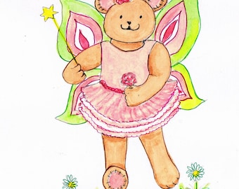 Bear fairy pink and green