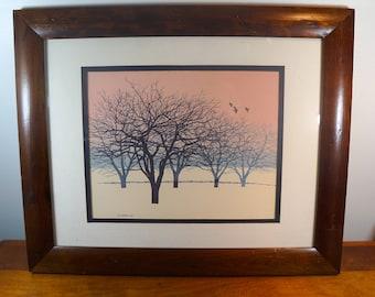 John Sovjani 1962 Watercolor Lithograph Bare Trees Distressed Frame