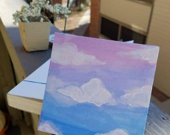 Custom Sunset Cloud painting. Sky painting. Blue sky art. Purple sky painting.