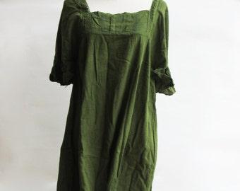 D24, Green Butterfly Effect Cotton Dress