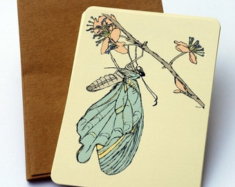 Butterflies on a Branch Notecards in Blue, Green and Cream -Set of 6 flat Notecards and Kraft Envelopes