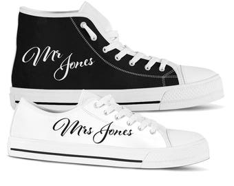 Personalized Wedding Sneakers Custom Bridal Sneakers Bridal Flats Groom Shoe Wedding Shoes for Bride Mr and Mrs Hi Tops Comfortable Shoes