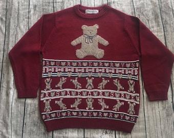 Vtg BURBERRY of London PRORSUM Bear Knit Made In ENGLAND Crew Sweatshirt small