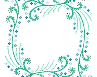 Floral Cascading Frame Paper Embroidery Pattern for Greeting Cards