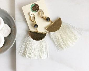 Tassel Earrings.  Tassel Earrings with Labradorite Stone. Colorful Tassel Earrings.  Jewelry Gift. Gold Tassel Earrings. Gift for her.