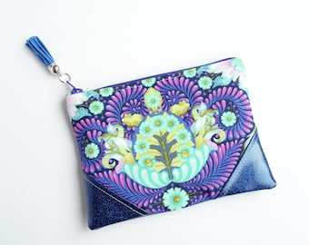 Turtle Royal Blue Glitter Mini Zip Pouch, Coin Pouch, Coin Purse, Gift Card Holder, Gifts for Her, Gifts for Teens, Wristlet