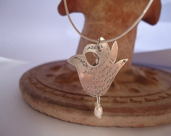 2 Sterling Silver Peace Dove And A Pearl Pendant Hand Engraved In Hebrew