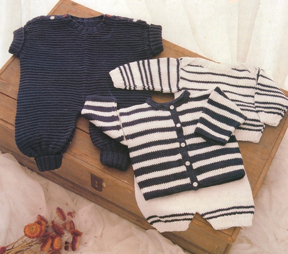 Pdf Baby Knitting Pattern Romper Suit Striped Cadigan Striped