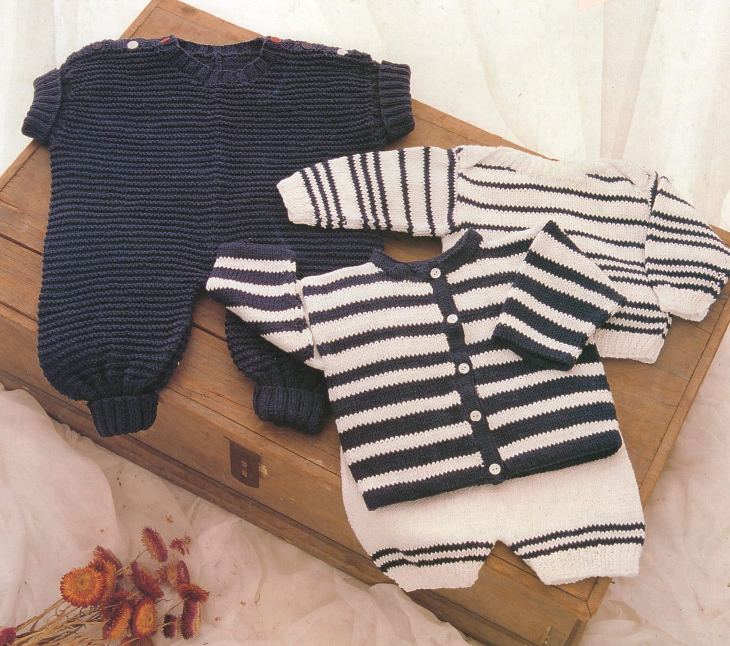 PDF Baby Knitting Pattern / Romper Suit, Striped Cadigan, Striped ...