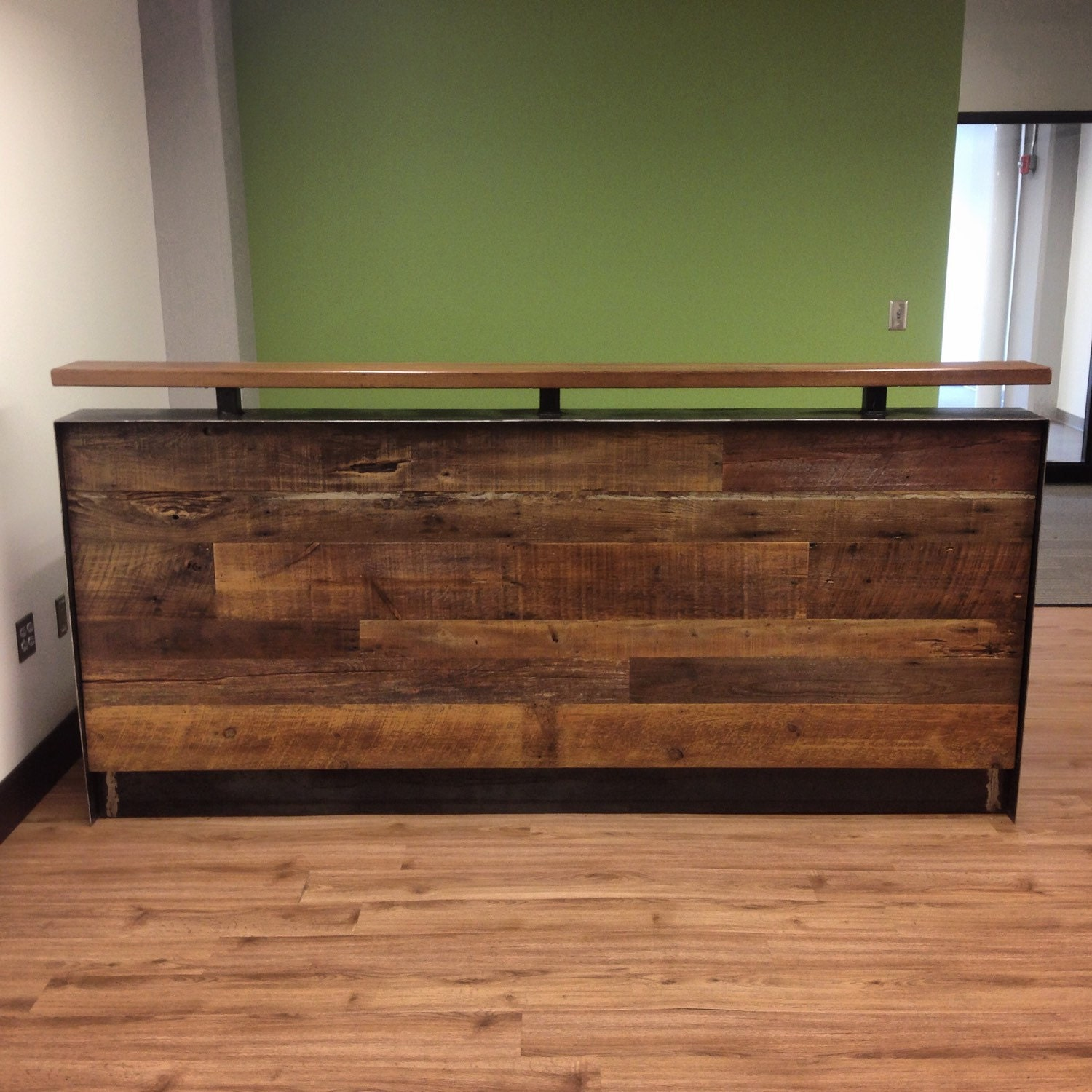 Reclaimed Wood amp Steel Reception Desk