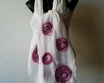 Women White Scarf, Silk Nuno Felted Multicolor Shawl, Bridal Violet Pink Scarf, Felting Wrap, Wedding Merino Wrap, Handmade Gift for Woman