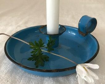 Rustic vintage blue enamel candle holder