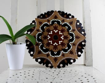 Argentine leather wall decoration with beautiful pattern and powerful colors Handwork Hand painted Made in Argentina