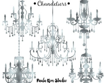 Silver Foil Chandelier Clipart, Wedding Clip Art, Instant Download, Commercial Use