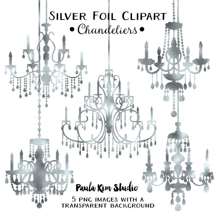Silver foil chandelier clipart wedding clip art instant zoom aloadofball Choice Image