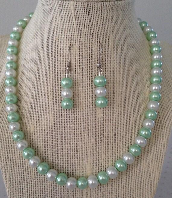 Seafoam Green Wedding Ideas: Seafoam Mint Green Pearl Necklace Seafoam Green Wedding