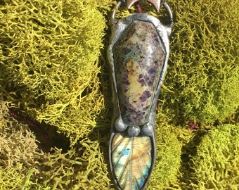Life and Death | Kaleidoscope Jasper Coffin with Labradorite Leaf Pendant Necklace