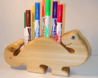 Wooden Dinosaur Marker Holder Crayon Holder, Made in the USA