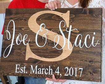 Wood sign, Name and wedding date sign, Custom signs, Personalized sign, Wedding sign, Wedding gift, Rustic wedding