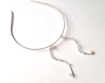 Mini Antenna Hairband, Silver Wire & Crystal Curved Butterfly Antennae Headband, Wavy Fairy Antennae Hairband, Sparkly Halloween Accessory,