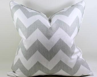Gray Chevron Linen Pillow Cover, Kravet Limitless, Cushion Cover, Throw Pillow