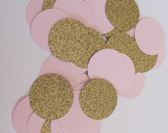 Light Pink and Glitter Gold Confetti, 1 Inch table confetti, Baby Shower confetti, Birthday Party Confetti, Bridal Shower