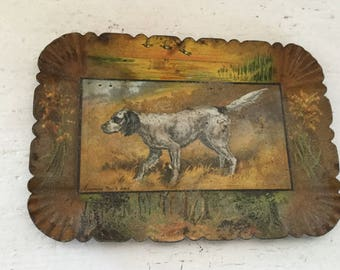 Antique Hand Painted And Lithographed Pointer Dog Hunting Tin Tip Tray