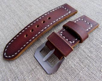 Vintage brown leather watch strap width 26 mm.