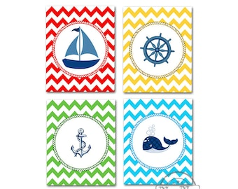 Nautical Sailboat Nursery Decor -  Chevron Baby Boy Nursery Room Decor Set of Four Prints, Anchor, Whale, Ship Wheel,