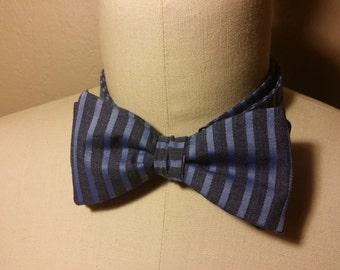 Self Tie Blue Striped Bow Tie
