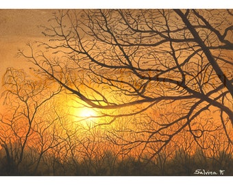 """Print made from my original watercolor painting """"Autumn Sunset"""" sun, bare trees, autumn,"""