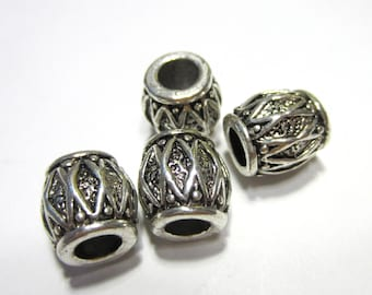 6 Antique silver beads textured metal large hole beads ethnic design barrel 7830(R3)