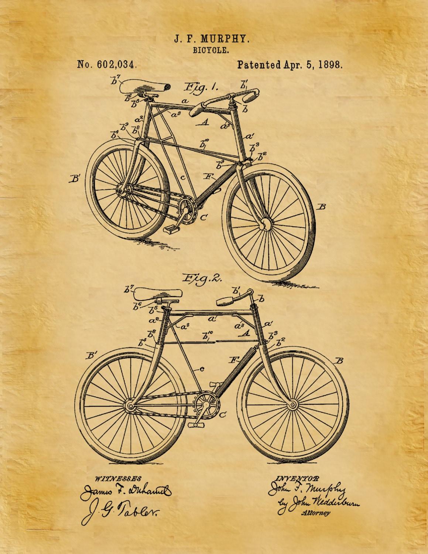 Patent 1898 Bicycle Art Print - Poster - Wall Art - Bike ...