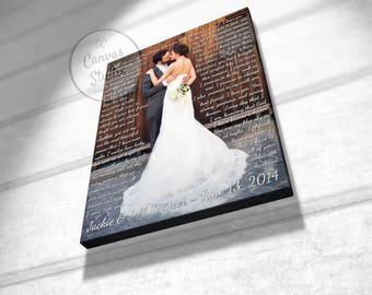 Second anniversary canvas, 2nd anniversary gift, wedding anniversary gift, anniversary gift for wife, custom canvas print, cotton canvas art