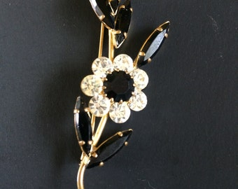 Vintage French Black Marquise Rhinestones and Clear Chatons Floral Brooch with Trombone Clasp