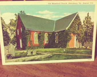 Old Blandford Church and Cemetery - Vintage Postcard