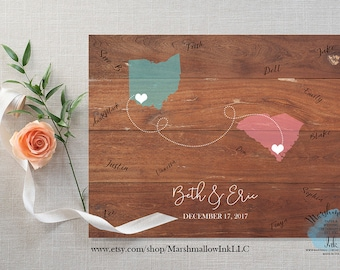 Wedding Map Wedding Guest Book Map - Wedding Signs - Wedding Gift - Bridal Shower Gift - State Guest Book - Wedding Guest Book Alternative